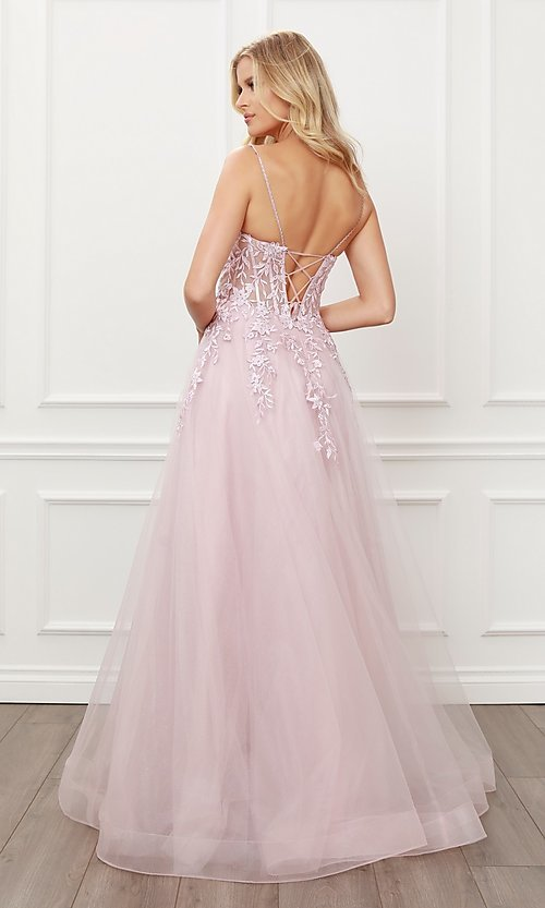 Image of blush pink embroidered corset ball gown for prom. Style: NA-21-T449 Back Image