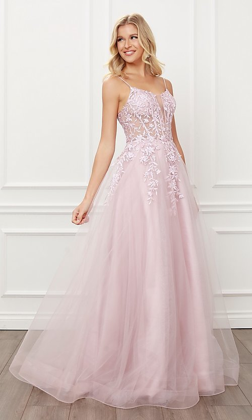 Image of blush pink embroidered corset ball gown for prom. Style: NA-21-T449 Detail Image 3