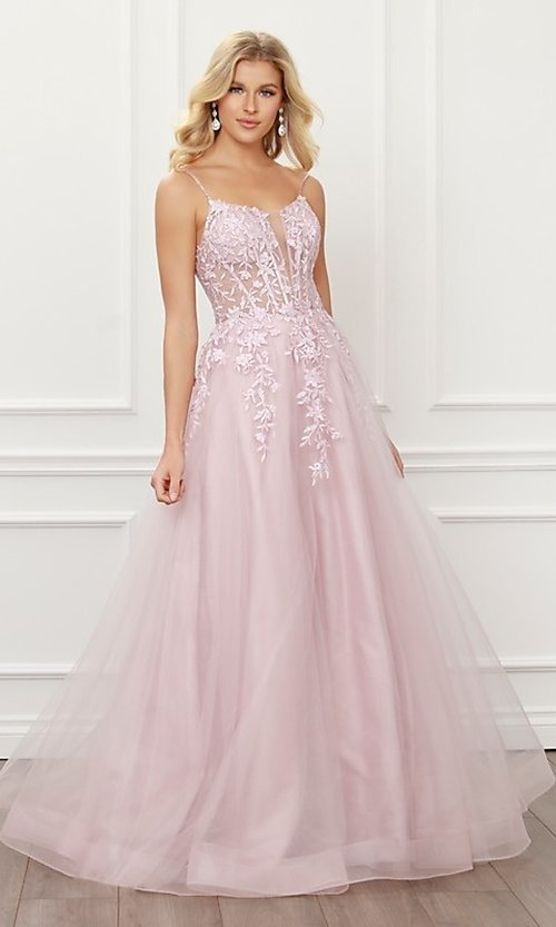 Image of blush pink embroidered corset ball gown for prom. Style: NA-21-T449 Detail Image 4