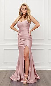 Image of corset strappy-back formal long prom gown. Style: NA-21-T481 Detail Image 5
