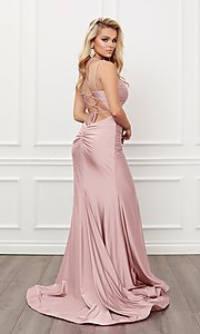 Image of corset strappy-back formal long prom gown. Style: NA-21-T481 Detail Image 4