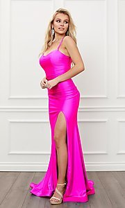 Image of corset strappy-back formal long prom gown. Style: NA-21-T481 Detail Image 2