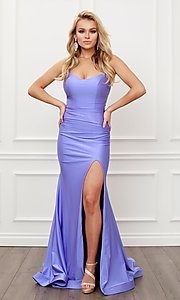 Image of corset strappy-back formal long prom gown. Style: NA-21-T481 Detail Image 1