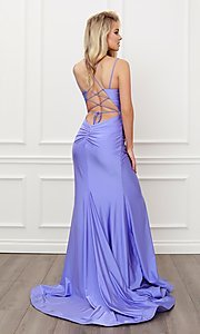 Image of corset strappy-back formal long prom gown. Style: NA-21-T481 Back Image