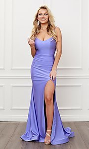Image of corset strappy-back formal long prom gown. Style: NA-21-T481 Front Image