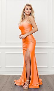 Image of corset strappy-back formal long prom gown. Style: NA-21-T481 Detail Image 6
