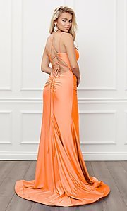 Image of corset strappy-back formal long prom gown. Style: NA-21-T481 Detail Image 7