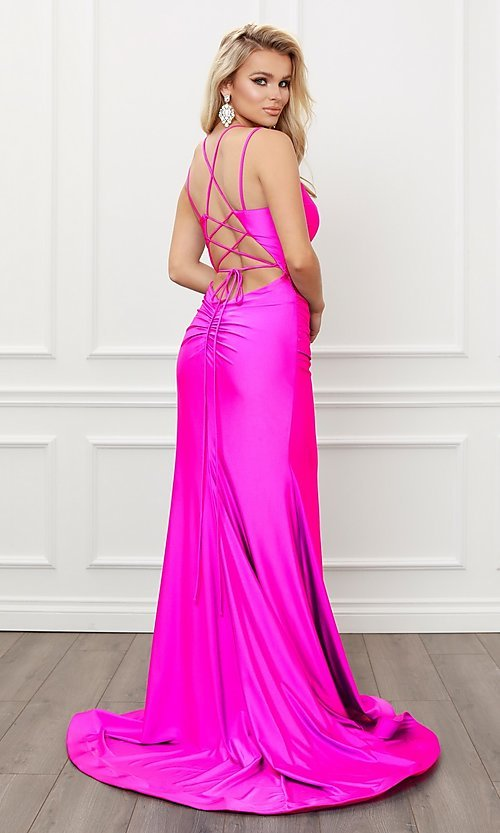 Image of corset strappy-back formal long prom gown. Style: NA-21-T481 Detail Image 3