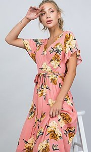 Image of floral print coral pink casual maxi party dress. Style: LAS-ILL-21-D1460L Detail Image 3