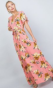 Image of floral print coral pink casual maxi party dress. Style: LAS-ILL-21-D1460L Detail Image 5