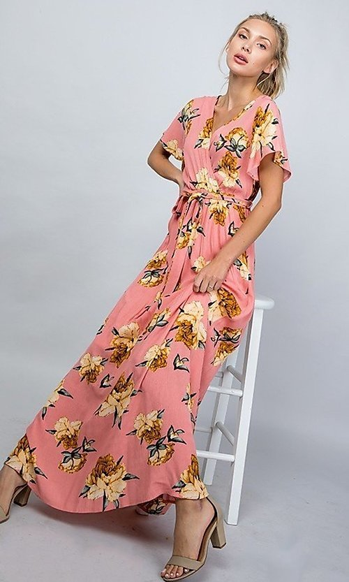 Image of floral print coral pink casual maxi party dress. Style: LAS-ILL-21-D1460L Front Image