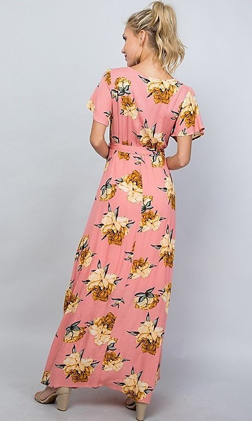 Image of floral print coral pink casual maxi party dress. Style: LAS-ILL-21-D1460L Back Image