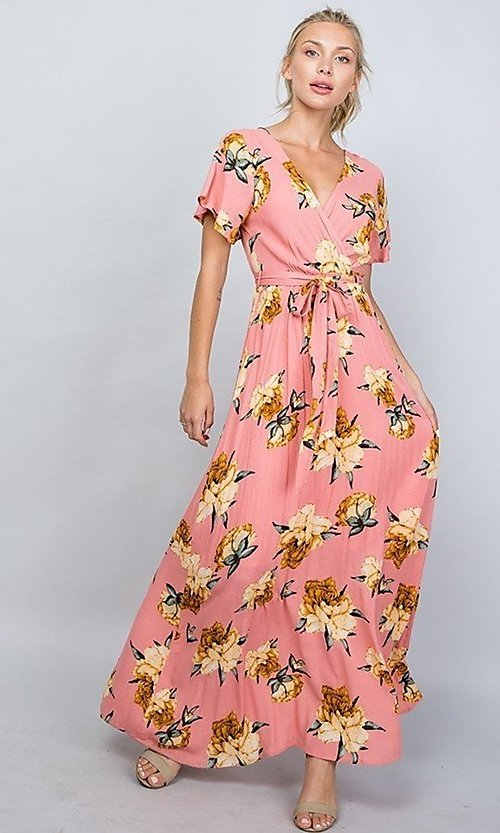 Image of floral print coral pink casual maxi party dress. Style: LAS-ILL-21-D1460L Detail Image 1