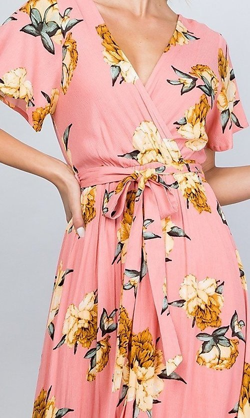 Image of floral print coral pink casual maxi party dress. Style: LAS-ILL-21-D1460L Detail Image 2