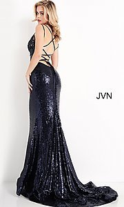 Image of navy blue sequin long prom gown from JVN by Jovani. Style: JO-JVN-21-JVN05803 Back Image