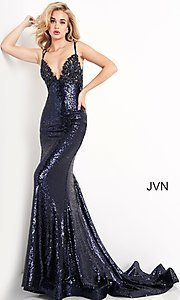 Image of navy blue sequin long prom gown from JVN by Jovani. Style: JO-JVN-21-JVN05803 Detail Image 1