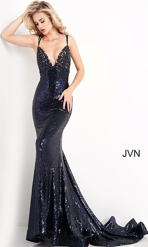 Image of navy blue sequin long prom gown from JVN by Jovani. Style: JO-JVN-21-JVN05803 Front Image