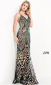 Image of JVN by Jovani sequin long formal prom gown. Style: JO-JVN-21-JVN05758 Front Image