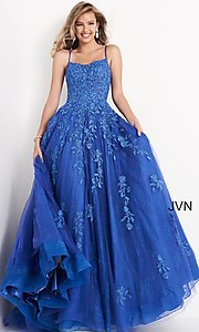 Image of JVN by Jovani embroidered ball gown in cobalt blue. Style: JO-JVN-21-JVN06644 Front Image