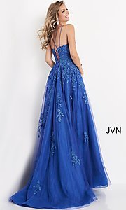 Image of JVN by Jovani embroidered ball gown in cobalt blue. Style: JO-JVN-21-JVN06644 Back Image