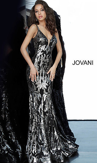 Plunging Low V-Neck Fitted Long Jovani Prom Gown