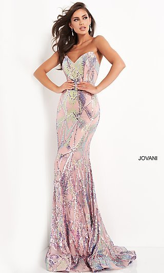 Jovani Strapless Long Sequin Prom Gown 05100