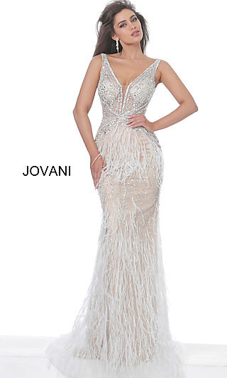 Feather-Embellished Long Jovani Prom Gown 03023