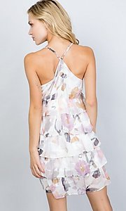 Image of tiered-ruffle floral print short party dress. Style: LAS-ILL-21-D1693C Back Image