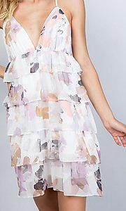 Image of tiered-ruffle floral print short party dress. Style: LAS-ILL-21-D1693C Detail Image 2