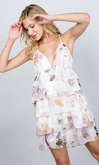 Tiered-Ruffle Floral Print Short Party Dress