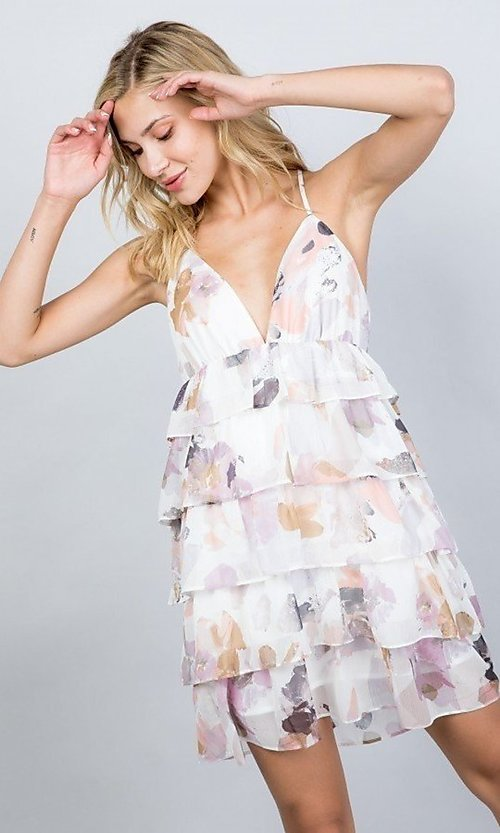 Image of tiered-ruffle floral print short party dress. Style: LAS-ILL-21-D1693C Front Image