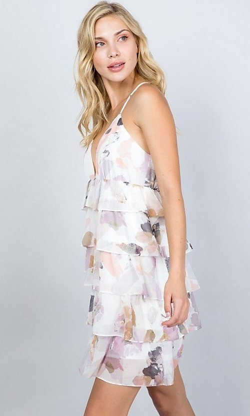 Image of tiered-ruffle floral print short party dress. Style: LAS-ILL-21-D1693C Detail Image 1