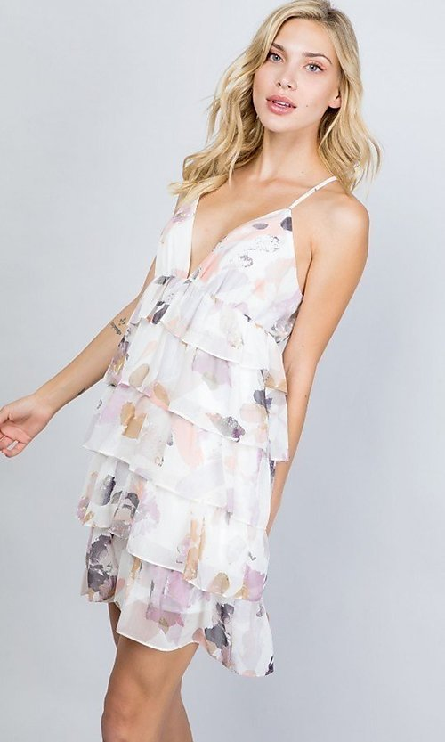 Image of tiered-ruffle floral print short party dress. Style: LAS-ILL-21-D1693C Detail Image 3
