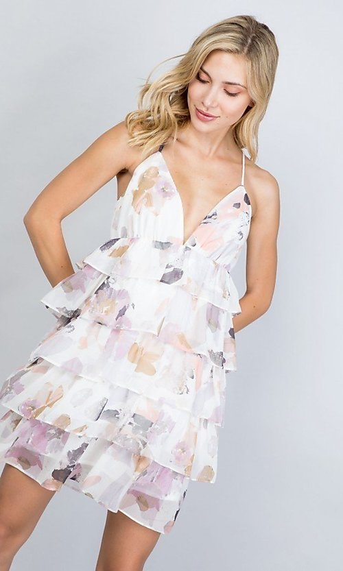 Image of tiered-ruffle floral print short party dress. Style: LAS-ILL-21-D1693C Detail Image 4