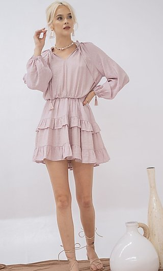 Layered-Ruffle Short Casual Dress with Long Sleeves