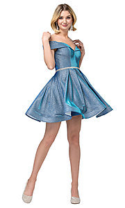 Image of off-the-shoulder short glitter homecoming dress. Style: DQ-21-3147 Detail Image 4
