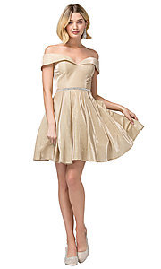 Image of off-the-shoulder short glitter homecoming dress. Style: DQ-21-3147 Detail Image 2