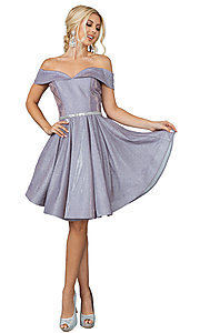 Image of off-the-shoulder short glitter homecoming dress. Style: DQ-21-3147 Detail Image 1