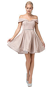 Image of off-the-shoulder short glitter homecoming dress. Style: DQ-21-3147 Front Image