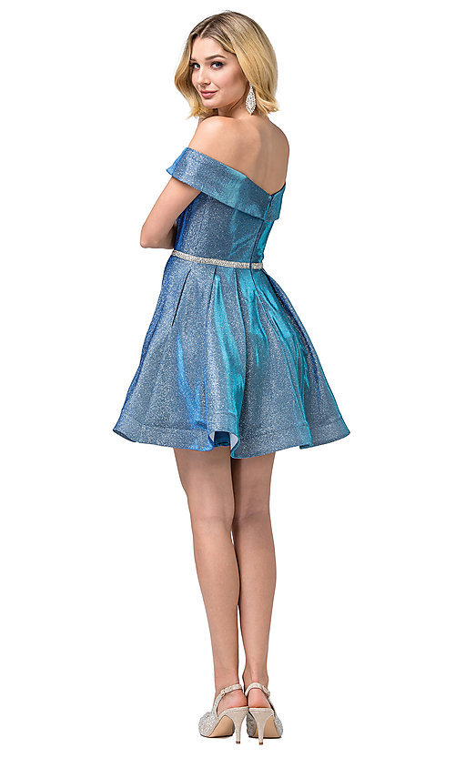 Image of off-the-shoulder short glitter homecoming dress. Style: DQ-21-3147 Detail Image 5