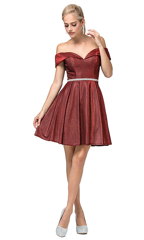 Image of off-the-shoulder short glitter homecoming dress. Style: DQ-21-3147 Detail Image 3