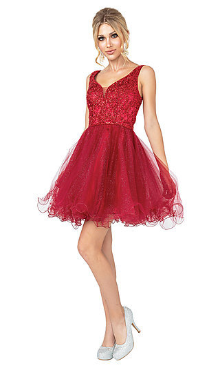 Beaded Fit-and-Flare Babydoll Short Prom Dress