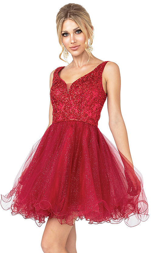 Image of beaded fit-and-flare short formal homecoming dress. Style: DQ-21-3243 Front Image