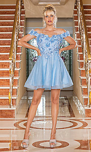 Image of glitter off-shoulder short homecoming dress. Style: DQ-21-3254 Front Image
