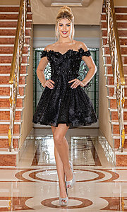 Image of glitter off-shoulder short homecoming dress. Style: DQ-21-3254 Detail Image 2