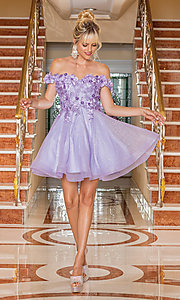 Image of glitter off-shoulder short homecoming dress. Style: DQ-21-3254 Detail Image 3