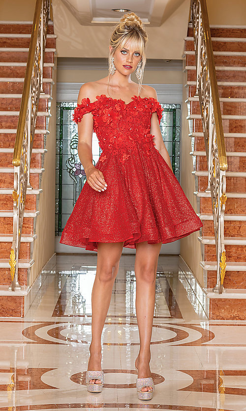 Image of glitter off-shoulder short homecoming dress. Style: DQ-21-3254 Detail Image 1
