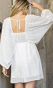 Image of draped sleeve short a-line casual party dress. Style: LAS-ILL-21-IM6051 Back Image
