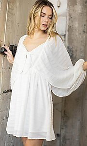 Image of draped sleeve short a-line casual party dress. Style: LAS-ILL-21-IM6051 Detail Image 2