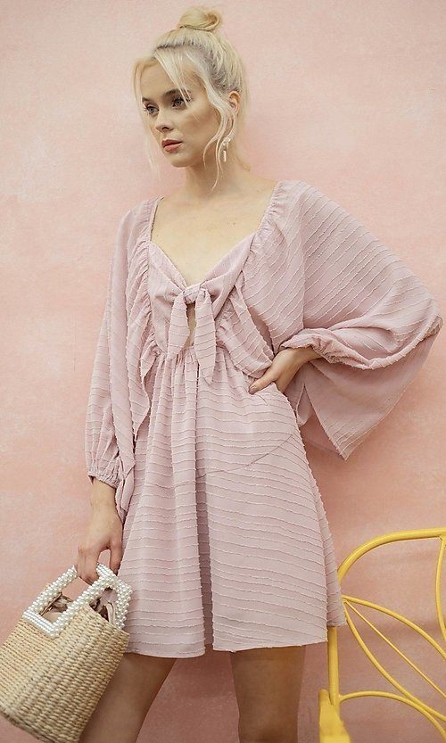 Image of draped sleeve short a-line casual party dress. Style: LAS-ILL-21-IM6051 Detail Image 3